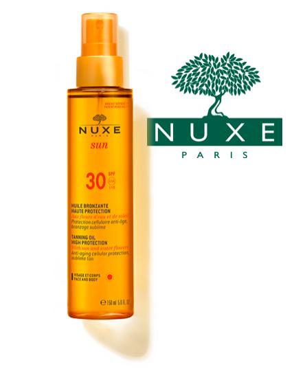 BlondiBrunette - 8 produits de beauté indispensables pour l'été - Nuxe - Huile bronzante visage et corps SPF 30 Nuxe sun